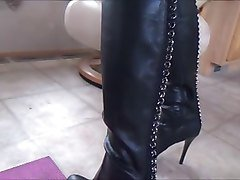 Panties, Leather, Dildo, Woman in leather coat, Xhamster.com