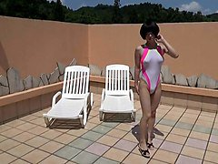 Crossdresser, Swimsuit, Dress, Redhead gold swimsuit, Xhamster.com
